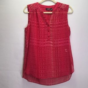 a.n.a Red & Pink Hi Lo Sleeveless Sheer Top